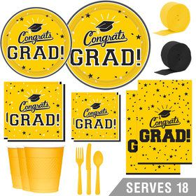 Congrats Grad Yellow Deluxe Tableware Kit (Serves 18)