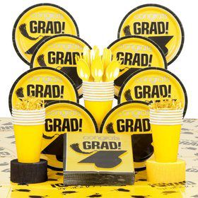 Congrats Grad Yellow Deluxe Tableware Kit Serves 18