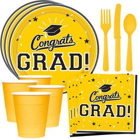 Congrats Grad Yellow Standard Tableware Kit (Serves 18)
