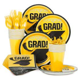 Congrats Grad Yellow Standard Tableware Kit Serves 18