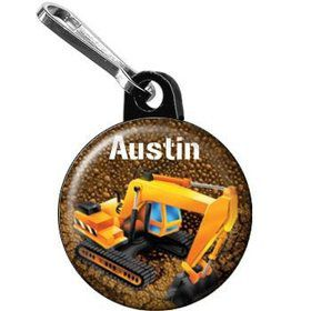 Construction - Backhoe Personalized Mini Zipper Pull (each)