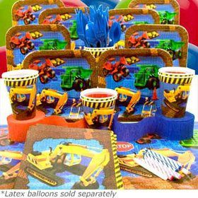 Construction Birthday Party Deluxe Tableware Kit Serves 8