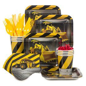 Construction Birthday Party Standard Tableware Kit Serves 8