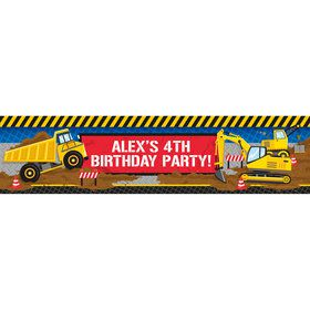 Construction Party Personalized Banner (Each)