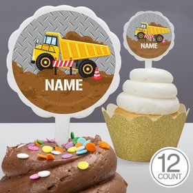 Construction Party Personalized Cupcake Picks (12 Count)