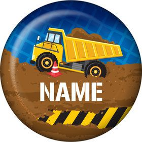 Construction Party Personalized Mini Button (Each)