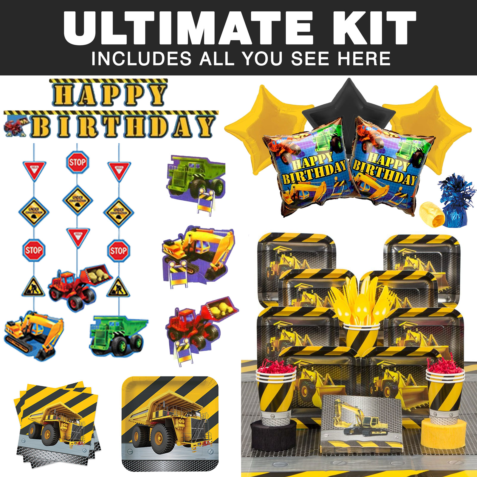 Construction Ultimate Tableware Kit (Serves 8) - Party Supplies BBKIT674