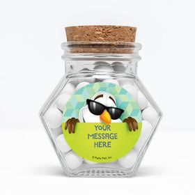 "Cool Snowman Personalized 3"" Glass Hexagon Jars (Set of 12)"