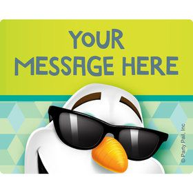 Cool Snowman Personalized Rectangular Stickers (Sheet of 15)