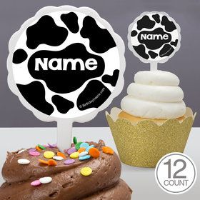 Cow Personalized Cupcake Picks (12 Count)