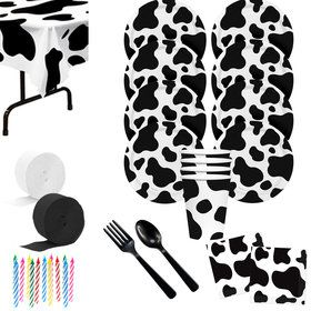 Cow Print Deluxe Tableware Kit (Serves 8)