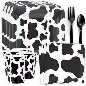 Cow Print Party Standard Tableware Kit (Serves 8)
