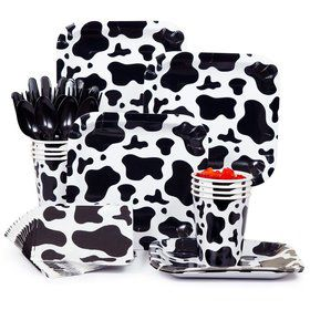 Cow Print Party Standard Tableware Kit Serves 8
