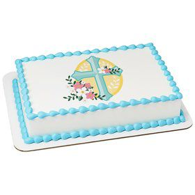 Cross With Flowers Quarter Sheet Edible Cake Topper (Each)