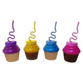 Cupcake 10Oz. Sipper Cup W/ Krazy Straw (Each)