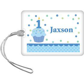 Cupcake 1st Birthday Boy Personalized Bag Tag (each)