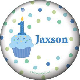 Cupcake 1st Birthday Boy Personalized Button (each)