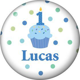 Cupcake 1st Birthday Boy Personalized Mini Button (each)