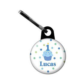 Cupcake 1st Birthday Boy Personalized Mini Zipper Pull (each)