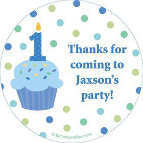 Cupcake 1st Birthday Boy Personalized Stickers (sheet of 12)