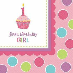 Cupcake 1st Birthday Girl Beverage Napkins (36-pack)