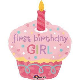 Cupcake 1st Birthday Girl Jumbo Mylar Balloon (each)