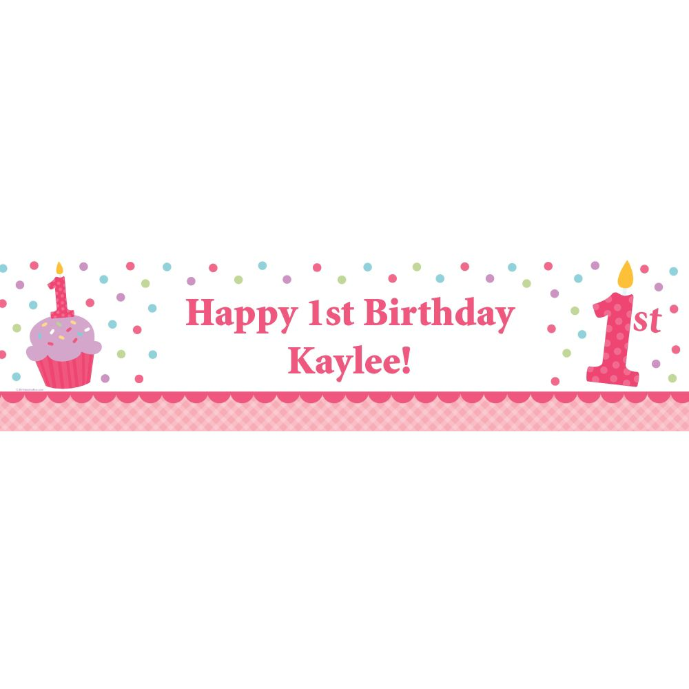 Cupcake 1St Birthday Girl Personalized Banner (Each) BB1001BN