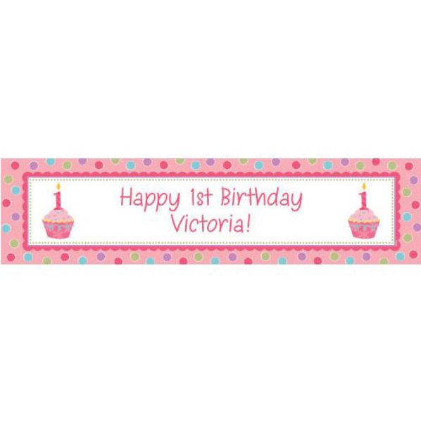 cupcake 1st birthday girl personalized b custom banners party