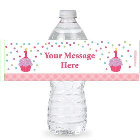 Cupcake 1st Birthday Girl Personalized Bottle Labels (Sheet of 4)