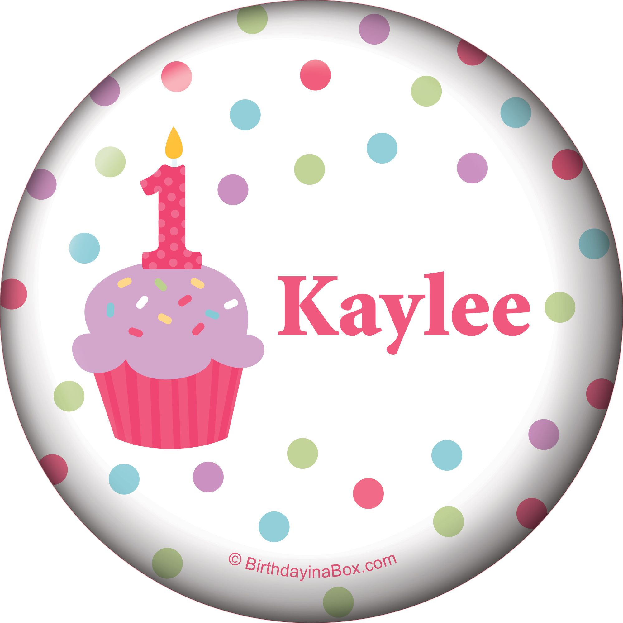 Cupcake 1St Birthday Girl Personalized Button (Each) BB1001BT