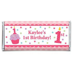 Cupcake 1st Birthday Girl Personalized Candy Bar Wrapper (Each)