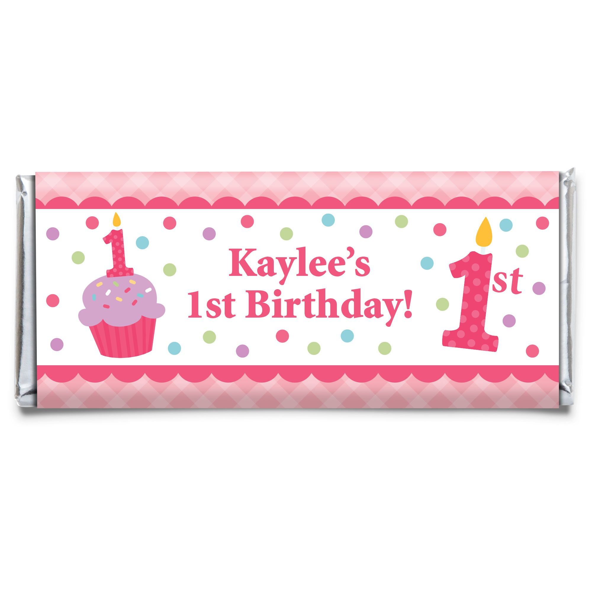 Cupcake 1St Birthday Girl Personalized Candy Bar Wrapper (Each) BB1001CB