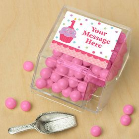 Cupcake 1St Birthday Girl Personalized Candy Bin with Candy Scoop (10 Count)