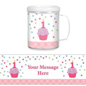 Cupcake 1st Birthday Girl Personalized Favor Mugs (Each)