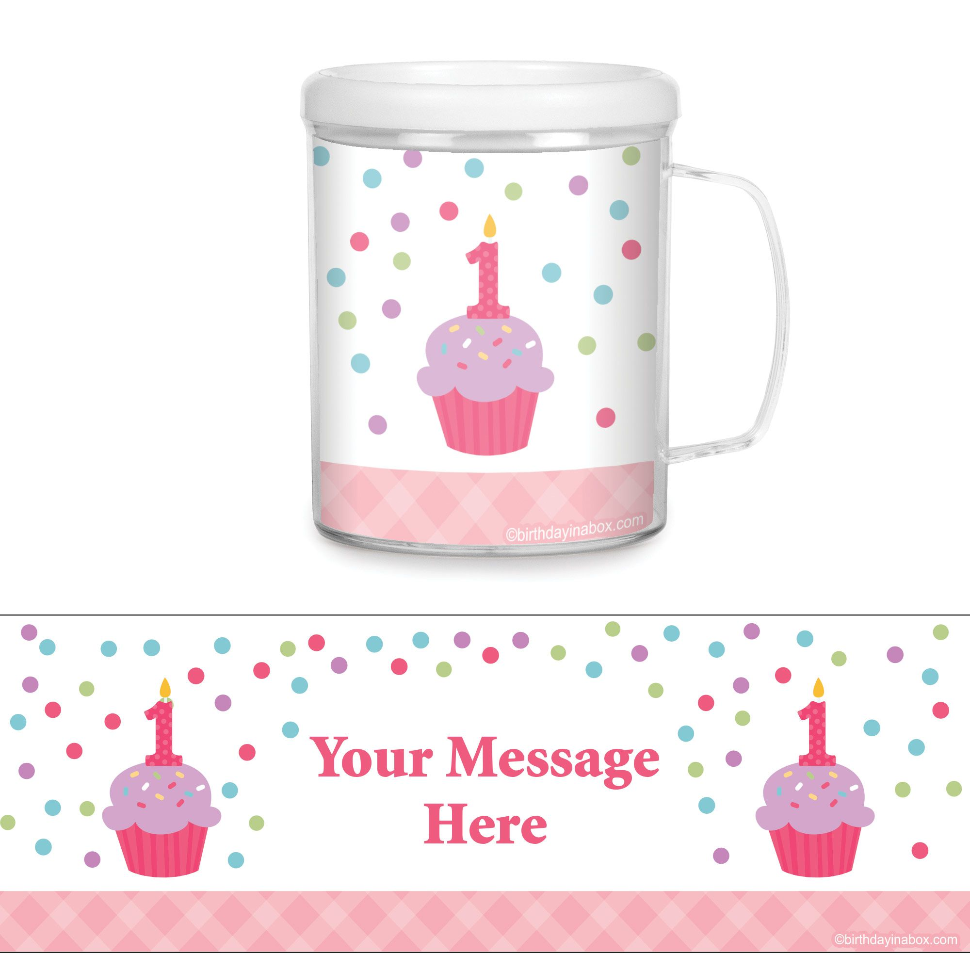 Cupcake 1st Birthday Girl Personalized Favor Mugs (Each) - Party Supplies BB1001CUP
