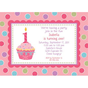 Cupcake 1St Birthday Girl Personalized Invitation (Each) BB019216