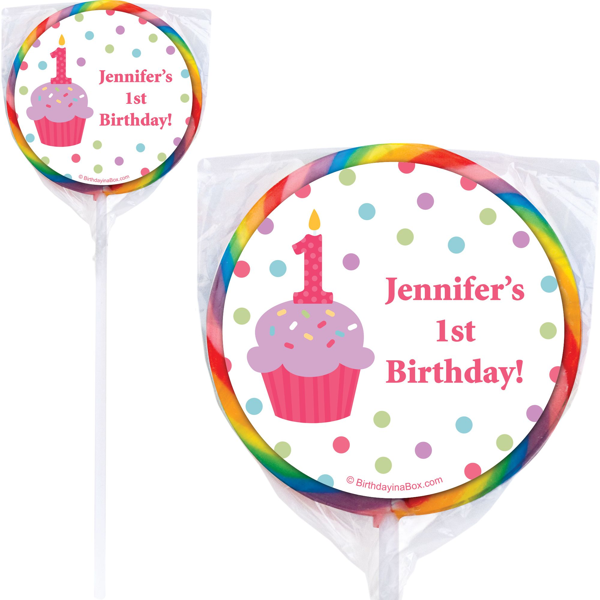 Cupcake 1st Birthday Girl Personalized Lollipop (PACK OF 12) BB1001PP-B