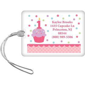 Cupcake 1st Birthday Girl Personalized Luggage Tag (each)