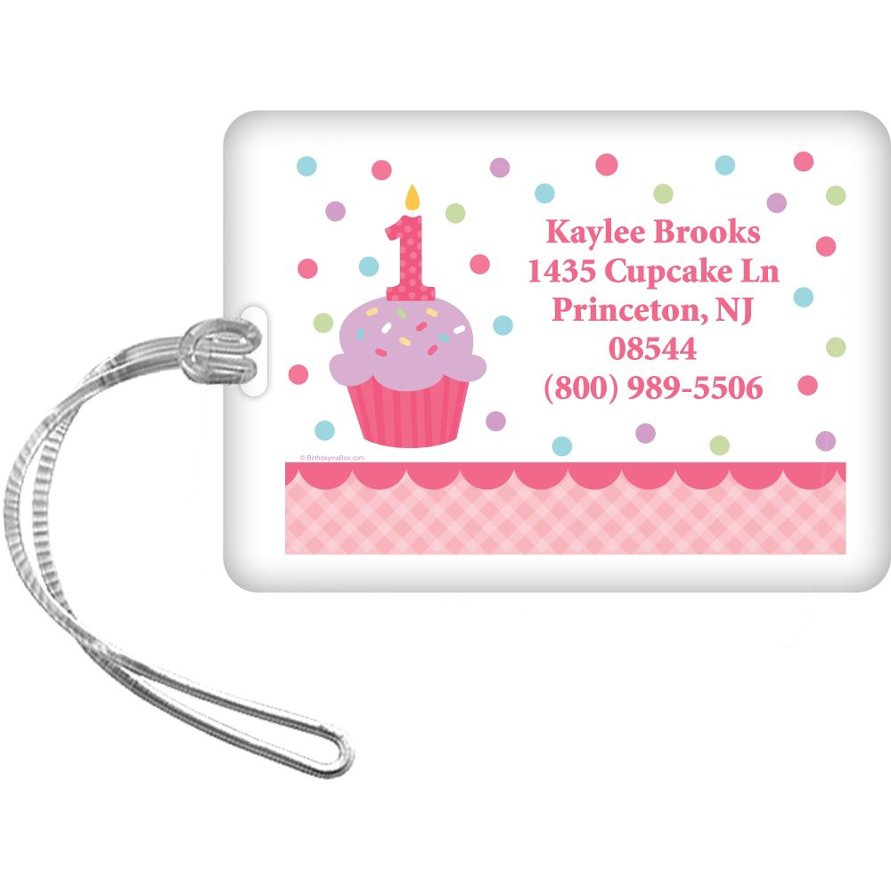Cupcake 1St Birthday Girl Personalized Luggage Tag (Each) BB1001LG