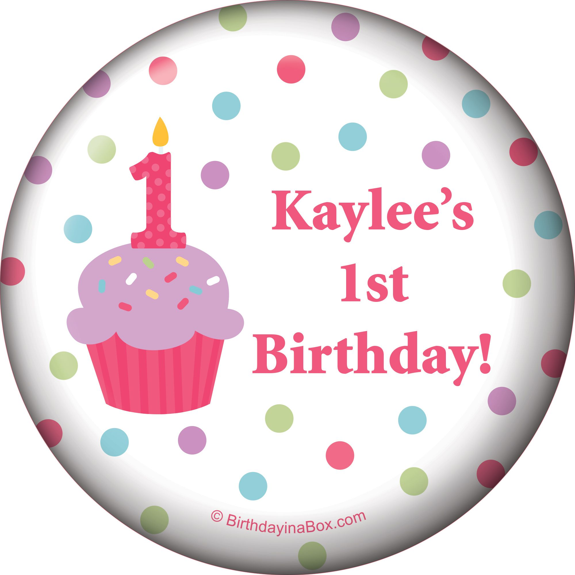 Cupcake 1st Birthday Girl Personalized Magnet (each) - Party Supplies BB1001MG
