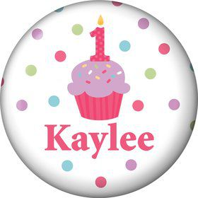 Cupcake 1st Birthday Girl Personalized Mini Magnet (each)