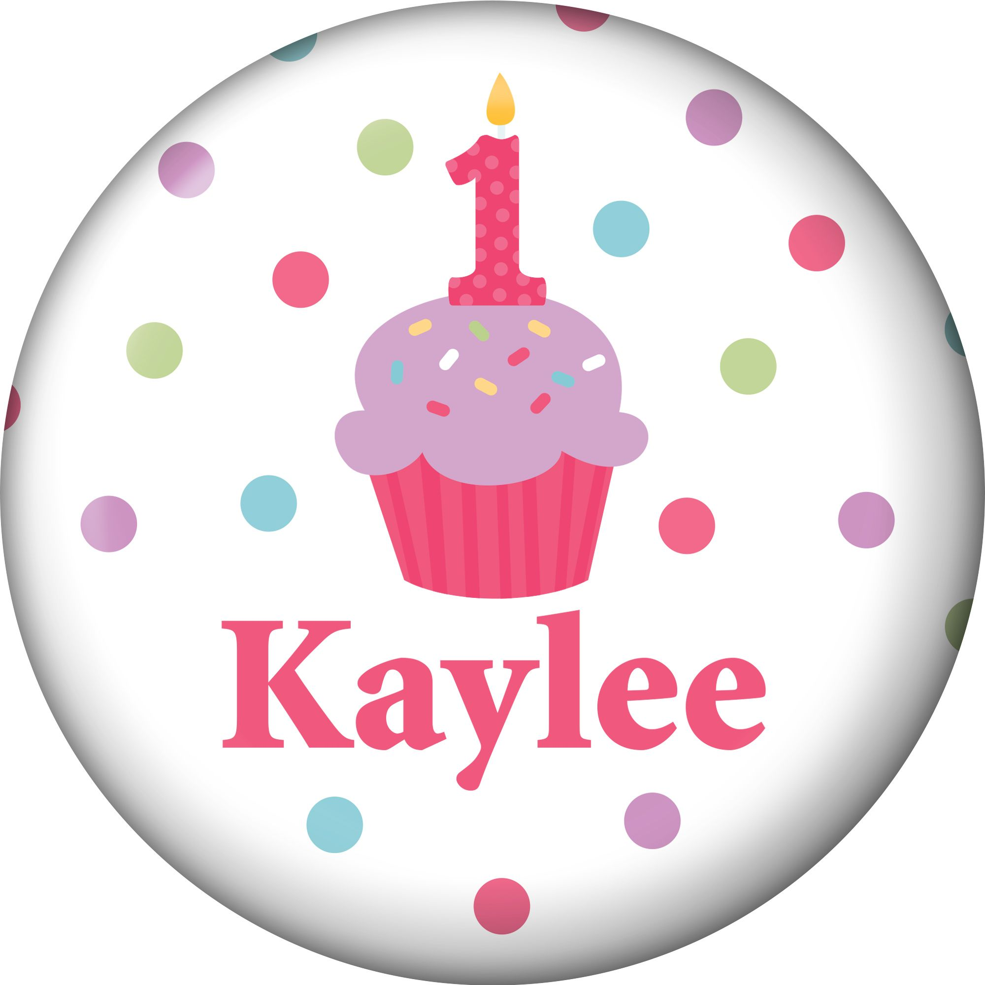 Cupcake 1st Birthday Girl Personalized Mini Magnet (each) - Party Supplies BB1001MS