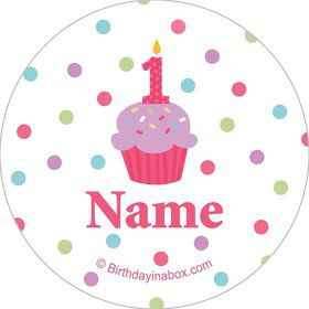 Cupcake 1st Birthday Girl Personalized Mini Stickers (Sheet of 20)