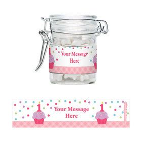 Cupcake 1st Birthday Girl Personalized Swing Top Apothecary Jars (12 ct)