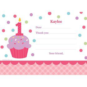 Cupcake 1st Birthday Girl Personalized Thank You Note (each)