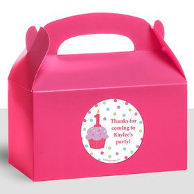 Cupcake 1St Birthday Girl Personalized Treat Favor Boxes (12 Count)
