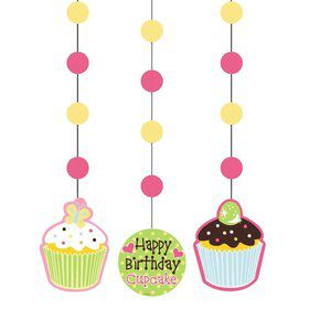 Cupcake Birthday Dangling Cutout (3-pack)