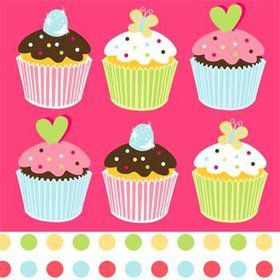 Cupcake Birthday Napkins (16-pack)