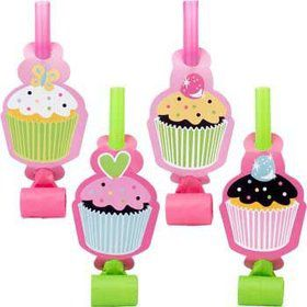 Cupcake Birthday Party Blowers (8-pack)