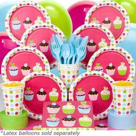 Cupcake Birthday Party Deluxe Tableware Kit Serves 8